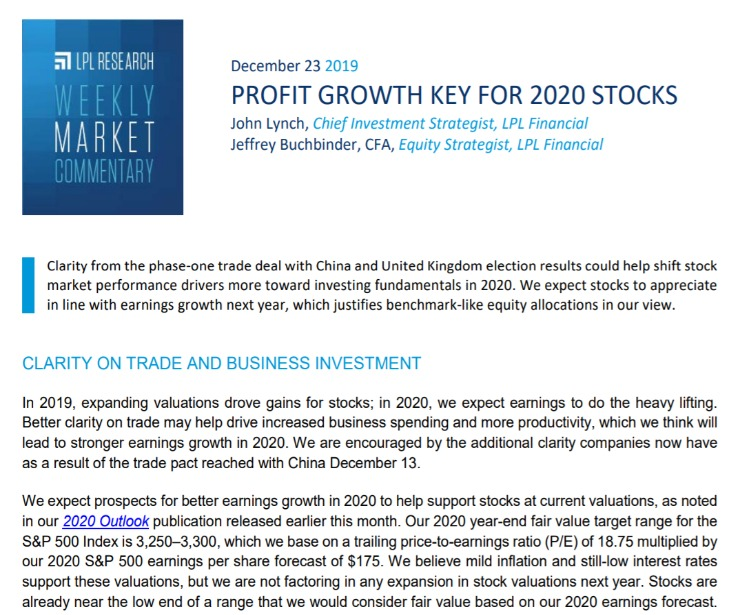Profit Growth Key for 2020 Stocks   Weekly Market Commentary   December 23, 2019