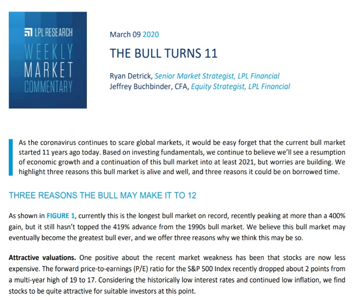 The Bull Turns 11 | Weekly Market Commentary | March 9, 2020