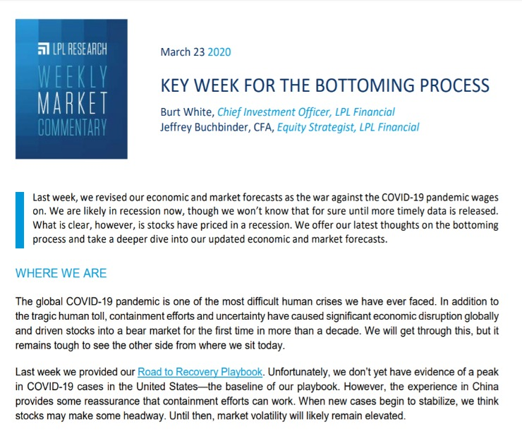 Key Week for the Bottoming Process | Weekly Market Commentary | March 23, 2020