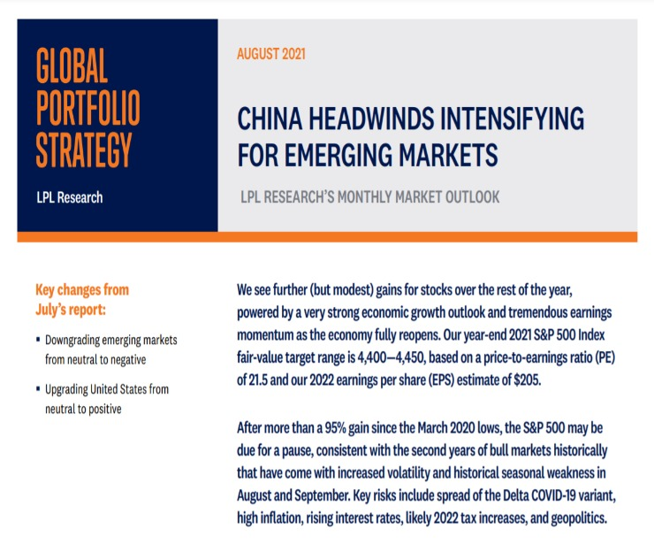 Global Portfolio Strategy   August 17, 2021
